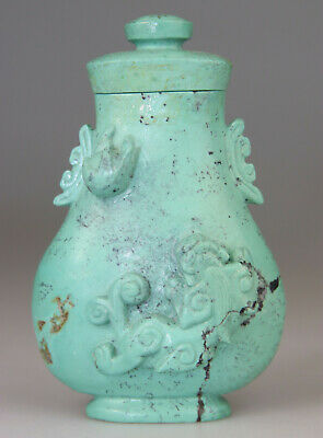 Antique Chinese Turquoise Stone Carved Vase Snuff Bottle Dragon Cover - 19Th