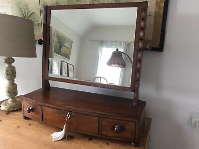Antique Dressing Table Mirror with Drawers & Key
