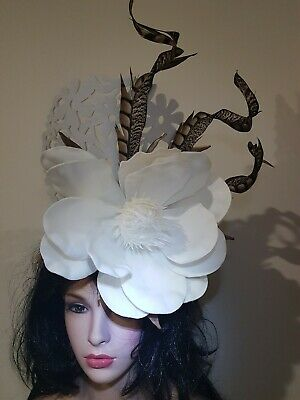 Fascinator hatinator hat races wedding costume formal white lace - 3rd place win