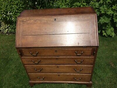 18th Century Antique Solid Wood Bureau with Chest Of Drawers & Writing Desk Oak