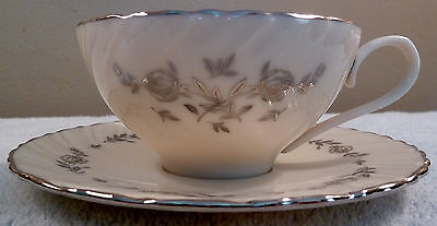 Mid-century Lenox ROSEMONT platinum roses and leaves, swirled cup and saucer