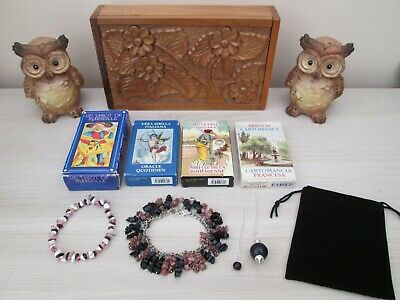 GYPSY TAROT FORTUNE TELLING ORACLE CARDS in Box with 2 Wise Owls & Charms.