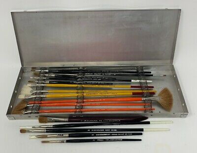 Grumbacher Brushes With Case Lot Of 16 Aquarelle Beaux Arts Delta Brush 19-1437