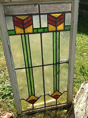VINTAGE ART DECO 1930s LEADED STAINED GLASS WINDOW
