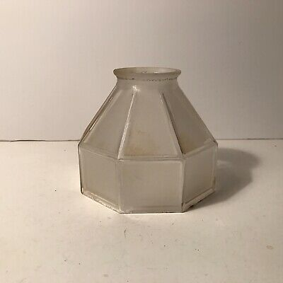 Antique frosted glass Art Deco era shade for ceiling light fixture floor lamp