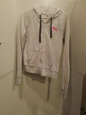 eb17b4426f995 VICTORIA'S SECRET~WOMENS ZIP Up Hoodie Jacket Gray Black Pink Size ...