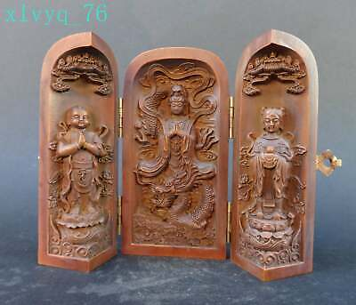 "Chinese Exquisite Hand-carved ""Guanyin"" Dragon child carving Boxwood box /screen"