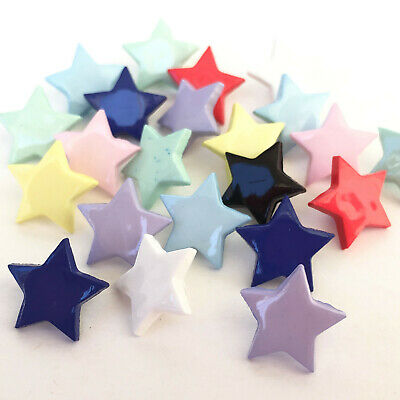 Mini star buttons 10mm mixed colours, sold per 10 buttons
