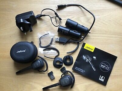 2 Jabra Supreme UC Bluetooth Headsets together with accessories, great condition