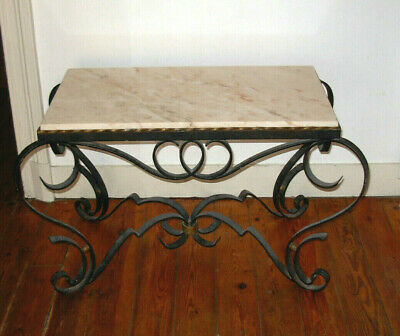 Raymond Subes PARIS 1940's French Marbre table antique art deco fer forgée