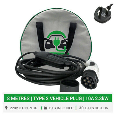 Type 2 EV portable / home / mains charger. 8METRES. 3pin UK plug. 10A EV charger