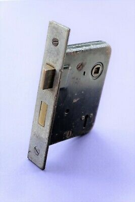 "Old good quality 2 lever mortice lock gunmetal finish faceplate 3"" depth"
