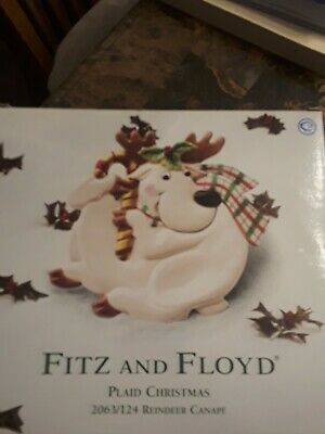 Fitz and Floyd Essentials Plaid Christmas HOliday Deer Reindeer Canape Plate