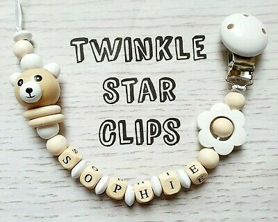 Personalised Dummy Clip Wooden or Silicone Letters Handmade Teddy Bear Baby Gift