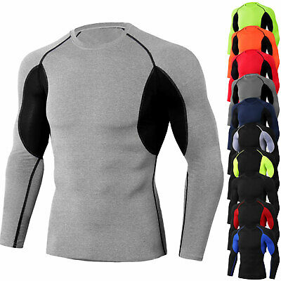 Mens Athletic Compression Shirt Sports Long Sleeve Tight fit Top Wicking Dry Fit