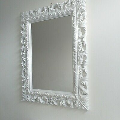 White Large French Resin Style Ornate Wall  mirror Vintage Wall Dressing mirror