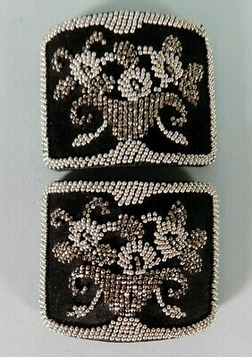 Antique Pair Of French Cut Steel Bead Shoe Buckles