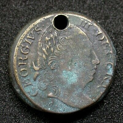GEORGE III BRASS COIN WEIGHT, Guinea Weight, Holed