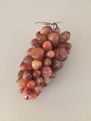Vintage Bunch Of Polished 100% Natural Agate Orange Stone Grapes Chakra