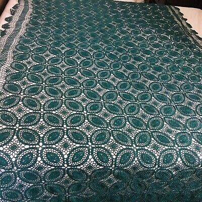 """Crochet vintage  Tablecloth Lace Rectangle 66"""" x 120"""" Green large"""