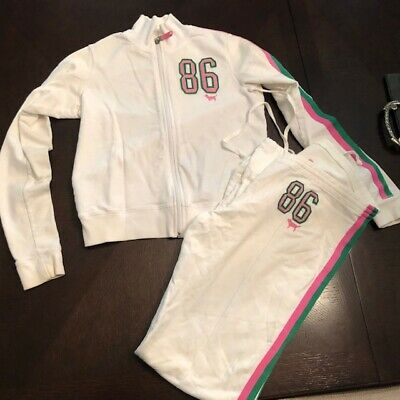 bd76aa9c5d54f VICTORIA SECRET PINK Track Suit Black With Green And White Stripes M ...