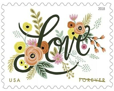 120 Love Flourishes USPS First Class Forever Postage Stamps Wedding 6 Sheets 20