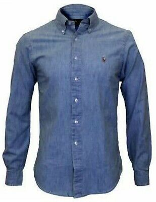 100% Genuine Men,s Ralph Lauren Slim Fit Chambray Shirt Blue New With Tags