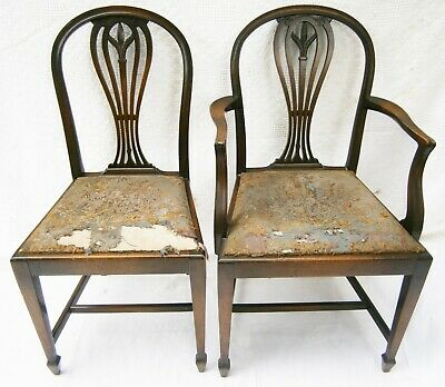 Pair of Lovely Antique Art Nouveau Carved Oak Chairs w Oriental Embroidered