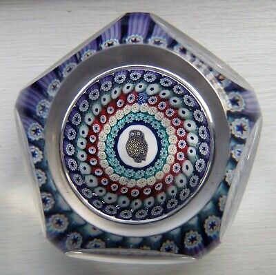 Vintage Whitefriars Glass Faceted Paperweight Millefiori Rare OWL Mosaic