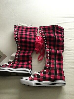 West Blvd Womens Sneaker Knee High Lace up Boots Pink Plaid