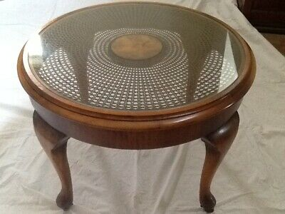 Mahogany, Canework, Glass Topped Coffee or Occasional table