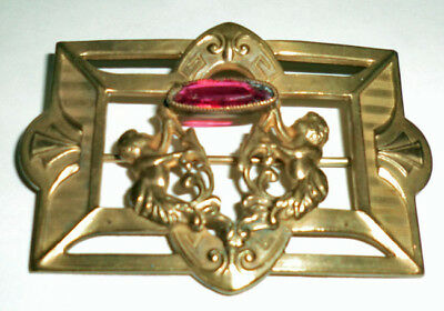 Antique Art Deco Brooch Sash Pin Brass Pink Glass Mermaids Sea Creatures Signed