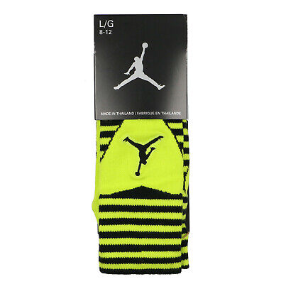 JORDAN Retro 10 Bobcat Crew Socks sz L Large (8-12) Black Venom Green X