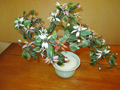"Vintage Asian Jade Agate Glass Leaves Flowers Bonsai Tree 15"" W x 10.5"" T Nice"