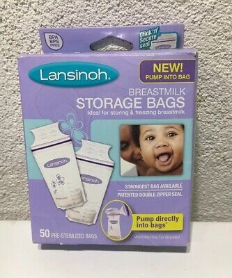 Lansinoh Breastmilk Breast Pump Storage Bags, 46-Count Pre-Sterilized Bags