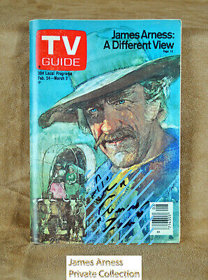 James Arness Gunsmoke Marshal Dillon VTG TV Guide How The West Was Won Signed