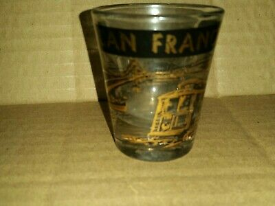 San  Francisco Ca black & gold souvenir shot glass golden gate bridge chinatown