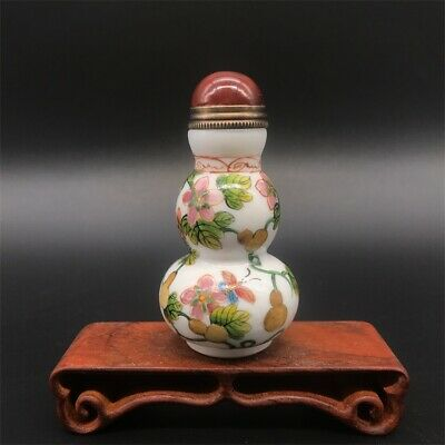 Chinese old coloured glaze Sculpture gourd statues Snuff Bottle
