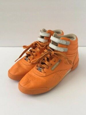 half off 6796a a48c0 Reebok Women Shoes Freestyle HI Top Orange White Lace Up Athletic Sneakers  5.5