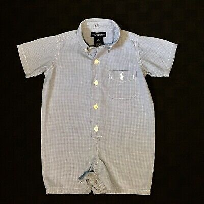 baa4ad829 Ralph Lauren Infant Boy Baby Blue White Gingham Polo Pony Romper 6-12 Months