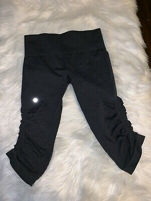 e887b1d74b7e3c Lululemon Women's Black In The Flow Cropped Leggings Capris Yoga Pants Size  6