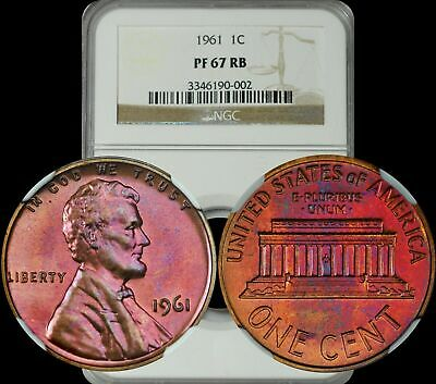 1961 Lincoln Memorial Cent NGC PF67 RB Violet/Purple Toned