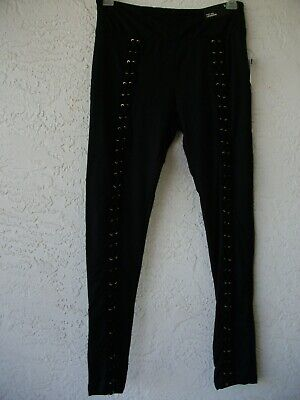 d59178aa8ccef NWT Rue21 black lace up grommet high rise leggings juniors L 11 or 8 10 soft