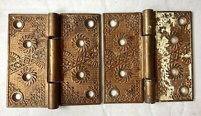 2- Antique Brass Heavy Ornate Victorian Door Hinges