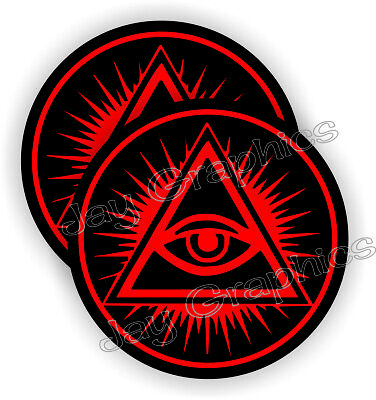 Eye of Providence Hard Hat Stickers / All Seeing Eye Helmet Decals God USA Pair