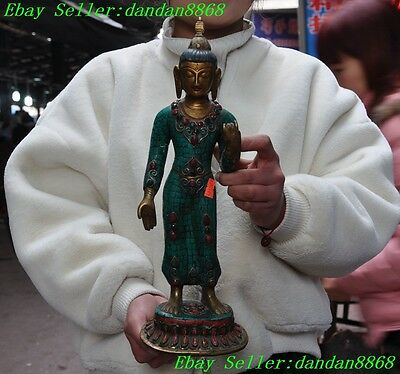"15"" Old Tibet buddhism bronze inlay Turquoise coral gem Thailand buddha statue"