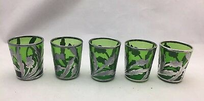5 Antique Sterling Silver 999 deposit heavy overlay GREEN GLASS LIQUORS THISTLES