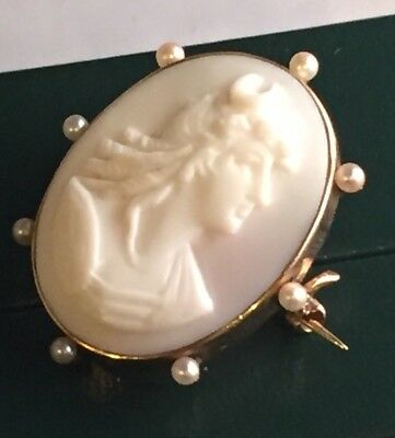 88044456c Vintage 14Kt Gold & Pearl Italian Carved Shell Goddess Diana Cameo Brooch  Pin