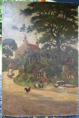 Andrew Hislop (Scotland 1887-1954) listed Oil Canvas Painting farmhouse England