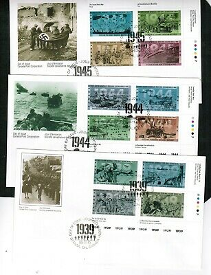 CANADA 1989-95  PART SET of THREE WWII  FDC**  #1263a ++ cat $10.00  BOX 518